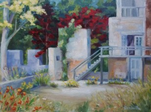 Beth Drainville, Carolina Mill Revisited, 9x12-oil
