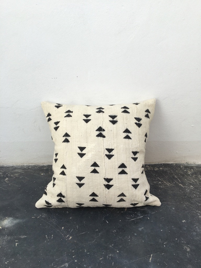 handmade vintage african mud cloth throw pillow in white with black triangle print