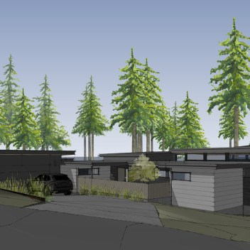 Exterior rendering of modern Edmonds custom home with views of Puget Sound