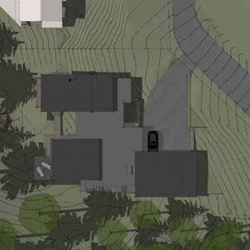 bird's eye view of modern Edmonds custom home with views of Puget Sound
