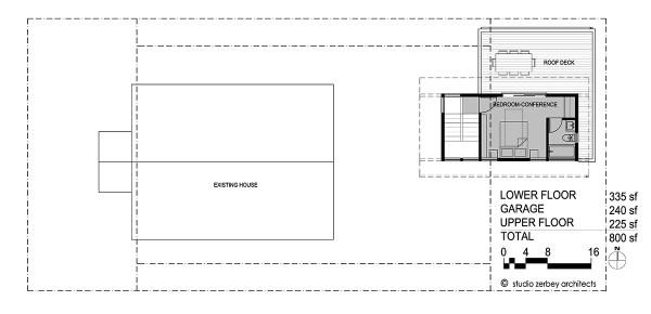 Upper Floor Plan Seattle DADU Detached accesory dwelling unit Studio Zerbey Architects