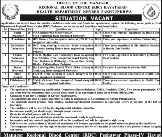 KPK Health Department RBC Hayatabad Jobs 2019 Application Form Interview Schedule