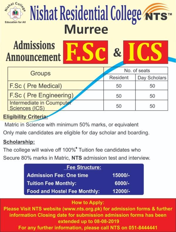 Nishat Residential College Murree FSC ICS Admission 2019 NTS Form