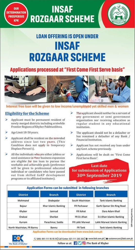 Insaf Rozgar Scheme KPK 2019 Application Form Eligibility Criteria