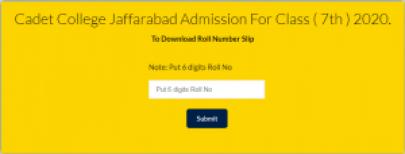 Cadet College Jaffarabad 7th Class Admission CTSP Test Roll No Slip 2021