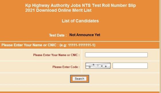 Kp Highway Authority Jobs NTS Test Roll Number Slip 2021 Download Online