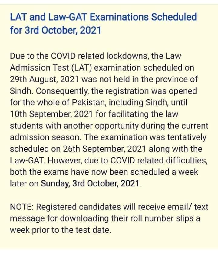 HEC Law GAT Test 2021 Online Registration Test Schedule Roll No Slips