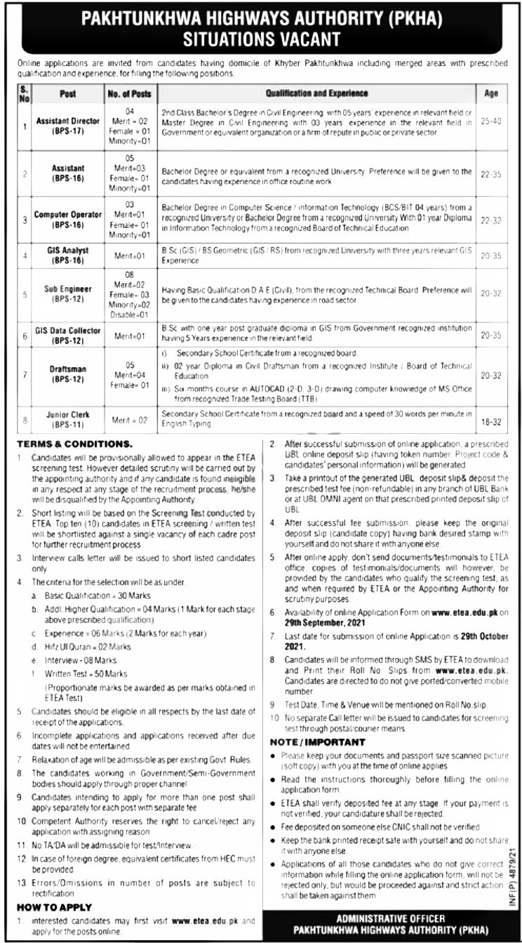 ETEA Pakhtunkhwa Highway Authority PKHA Jobs 2021 Apply Online Roll No Slip