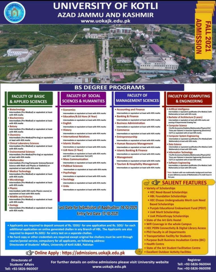University of Kotli AJK BS Program admission 2021 Online Forms Last Date