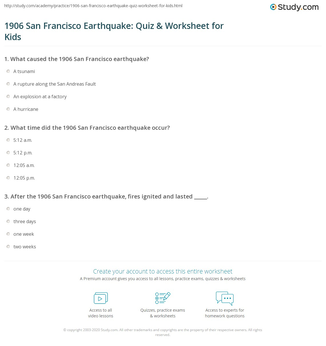 San Francisco Earthquake Quiz Amp Worksheet For Kids