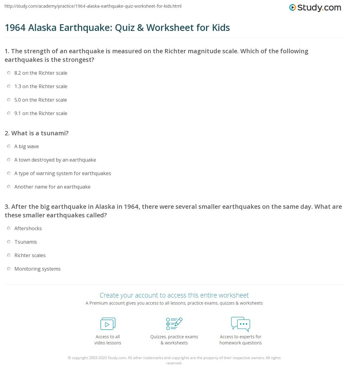 Alaska Earthquake Quiz Amp Worksheet For Kids