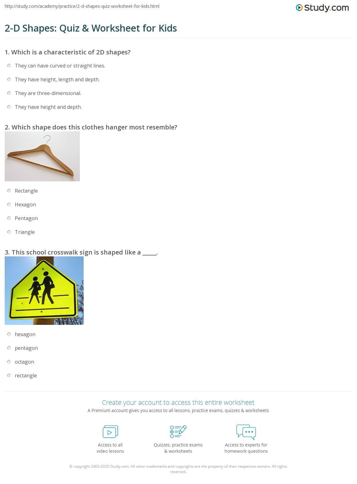 2 D Shapes Quiz Amp Worksheet For Kids