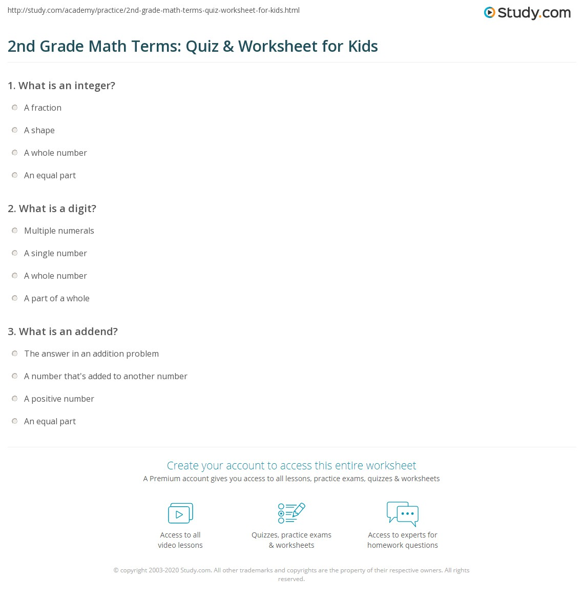 2nd Grade Math Terms Quiz Amp Worksheet For Kids