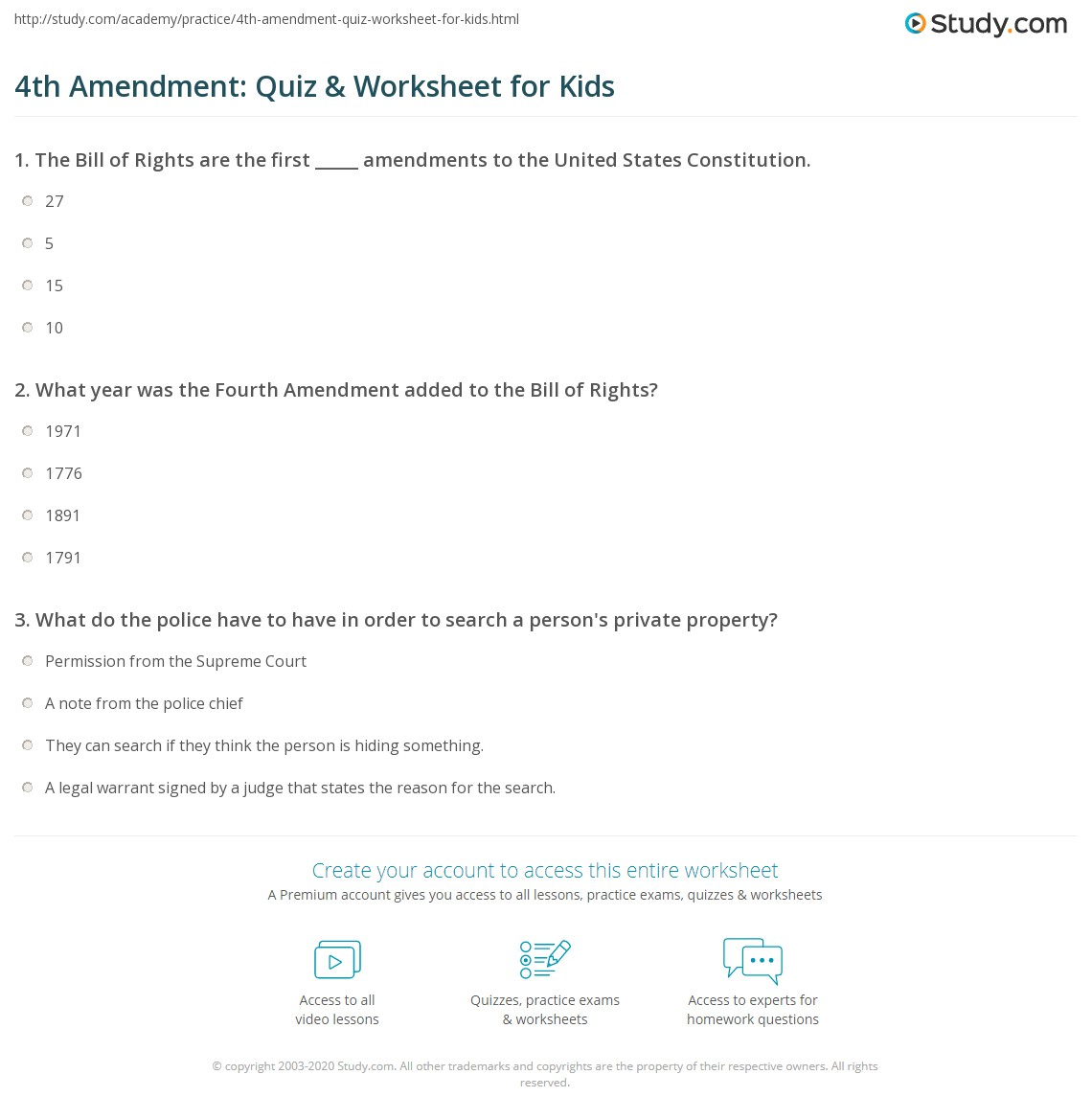 4th Amendment Quiz Amp Worksheet For Kids