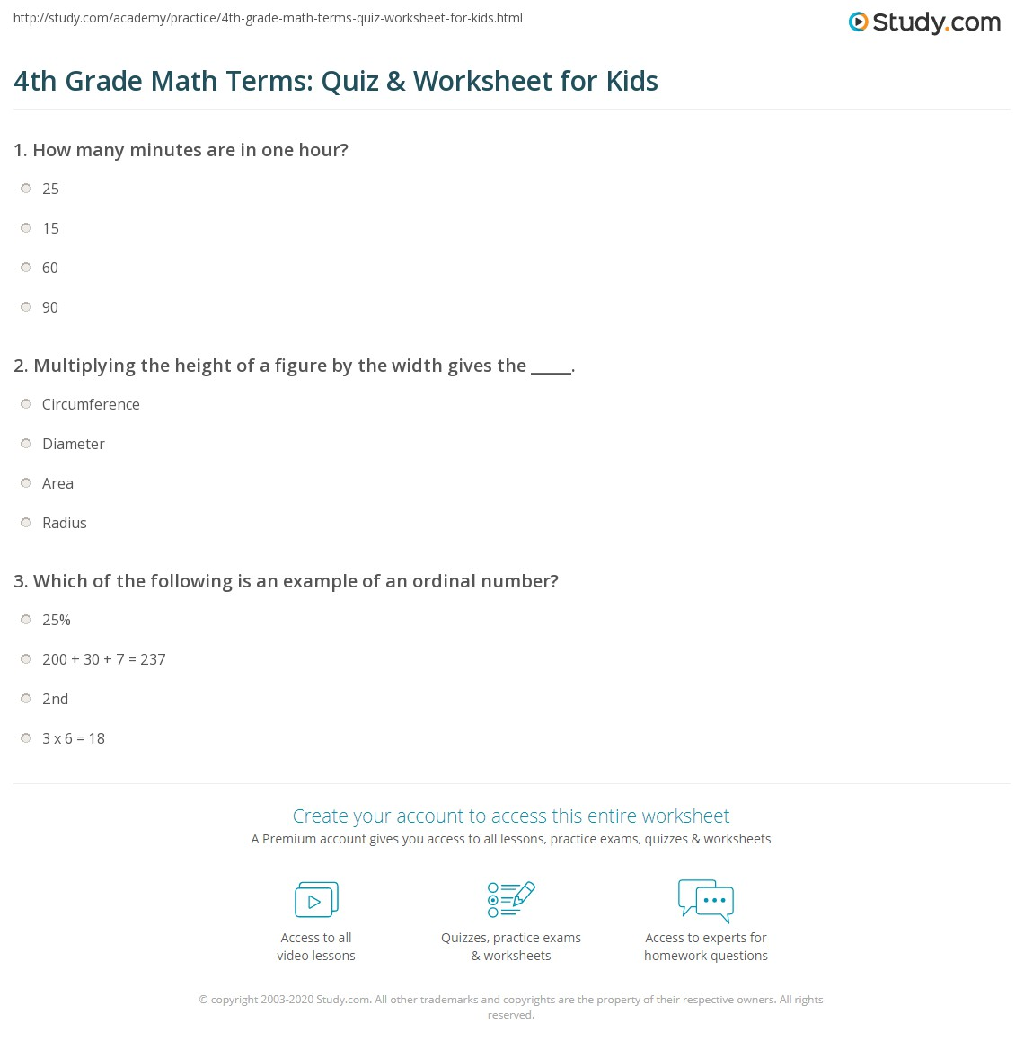4th Grade Math Terms Quiz Amp Worksheet For Kids