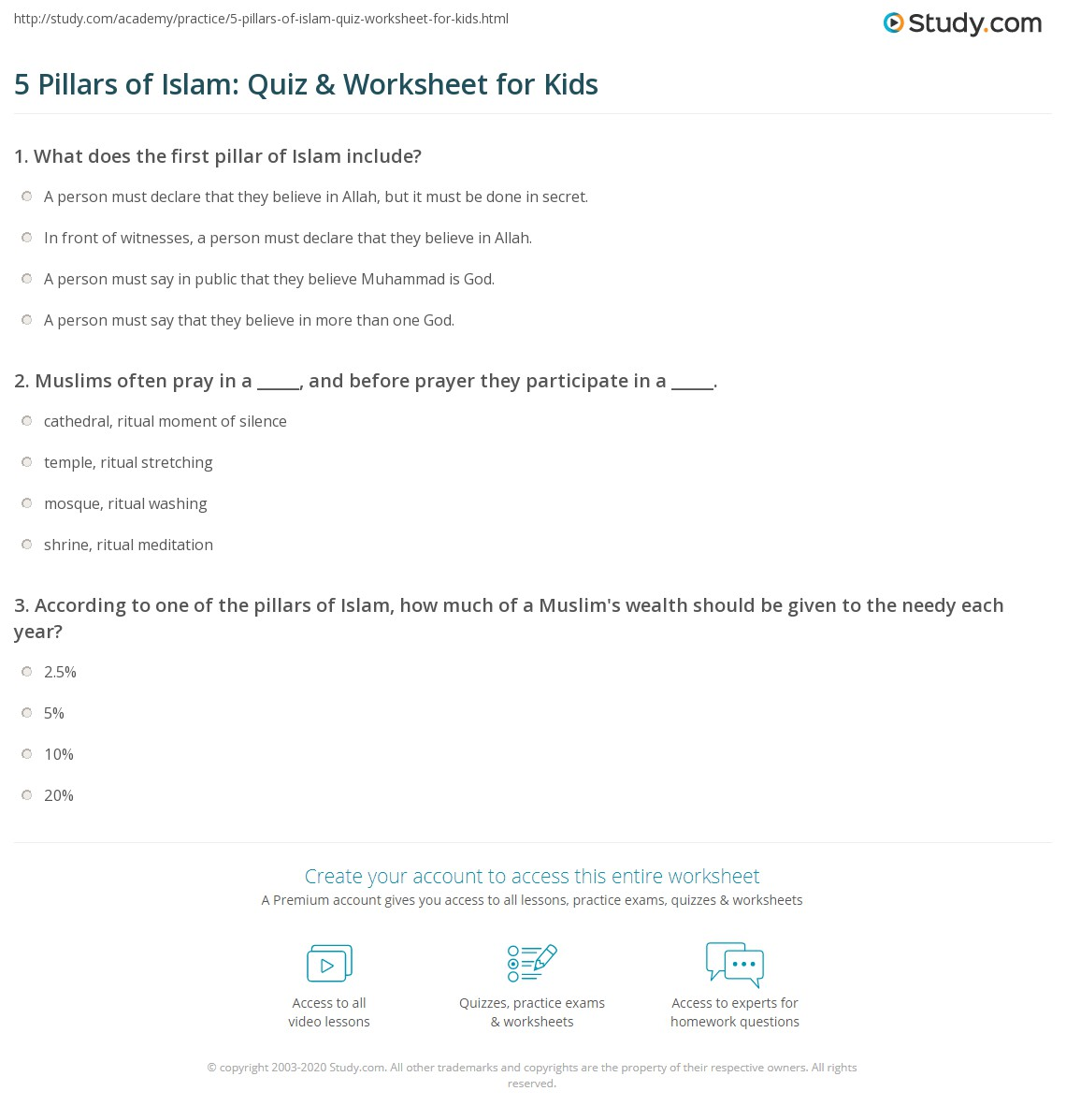 5 Pillars Of Islam Quiz Amp Worksheet For Kids
