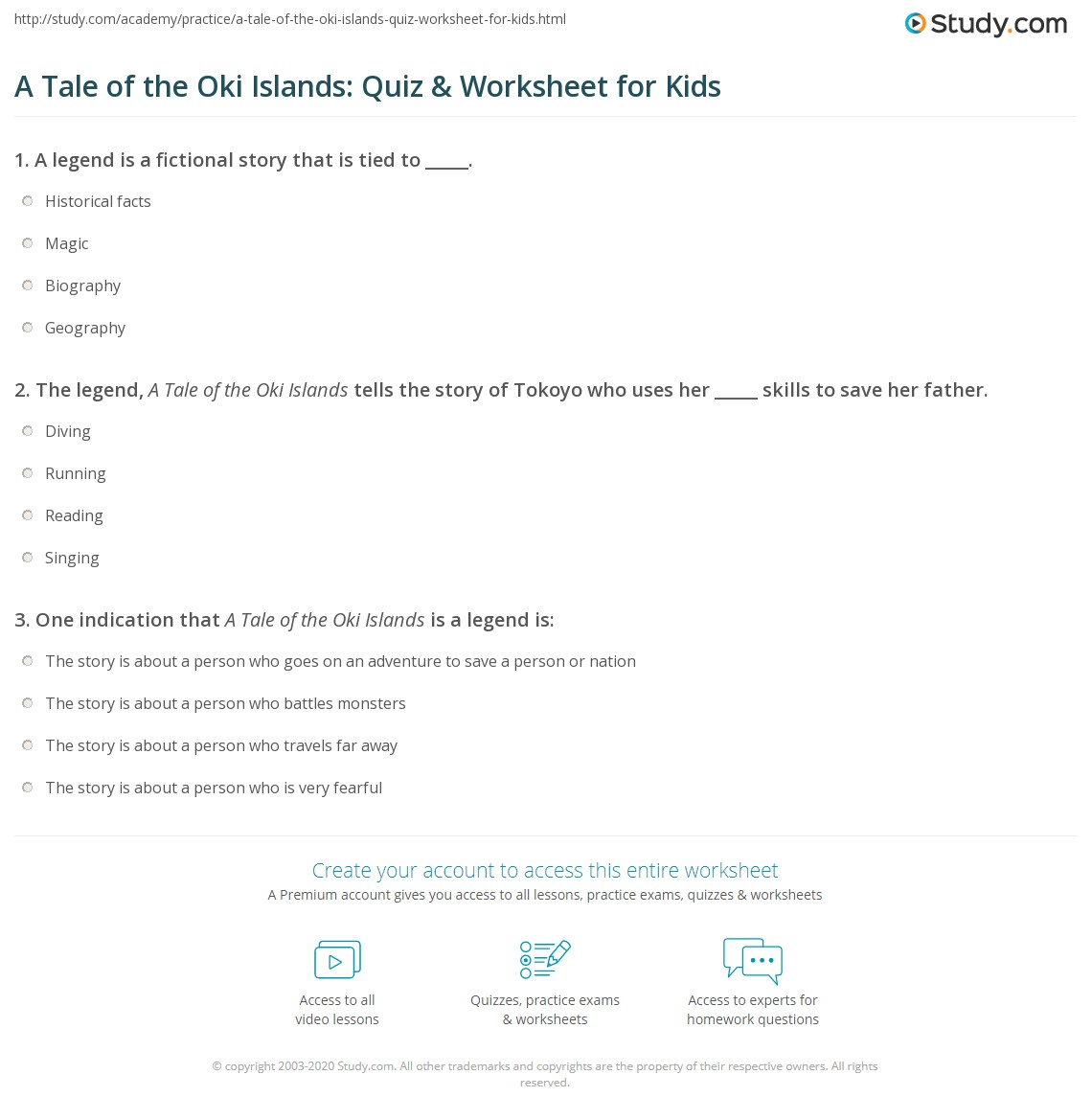 A Tale Of The Oki Islands Quiz Amp Worksheet For Kids