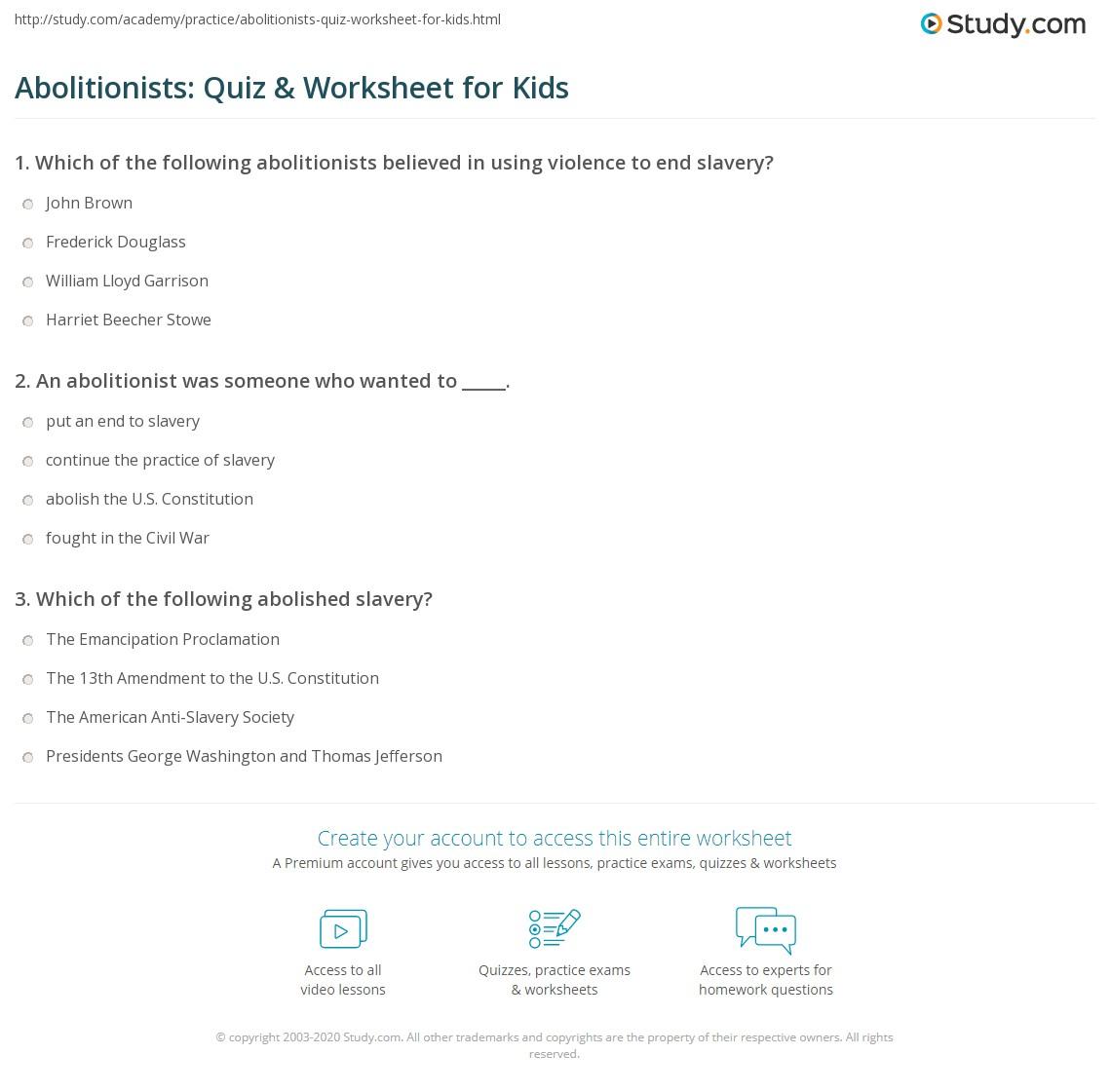 Abolitionists Quiz Amp Worksheet For Kids