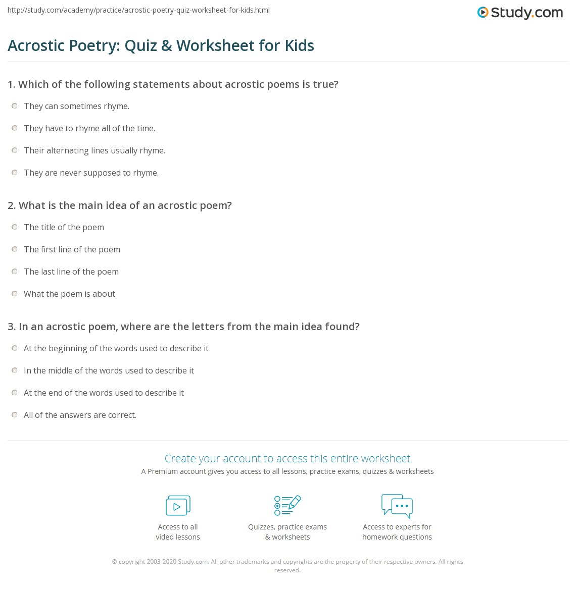 Acrostic Poetry Quiz Amp Worksheet For Kids