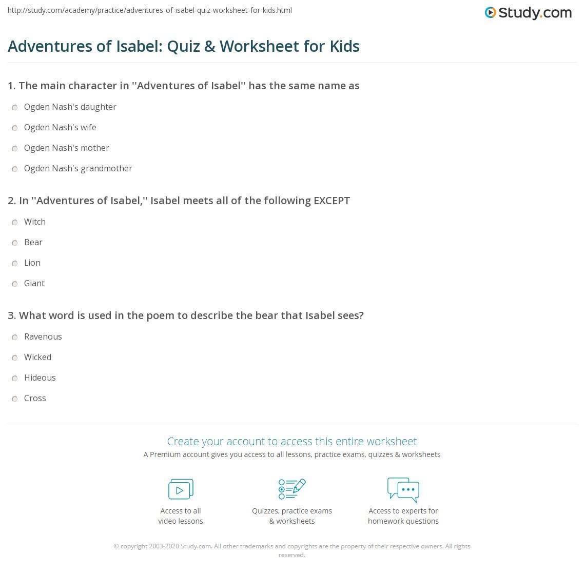 Adventures Of Isabel Quiz Amp Worksheet For Kids