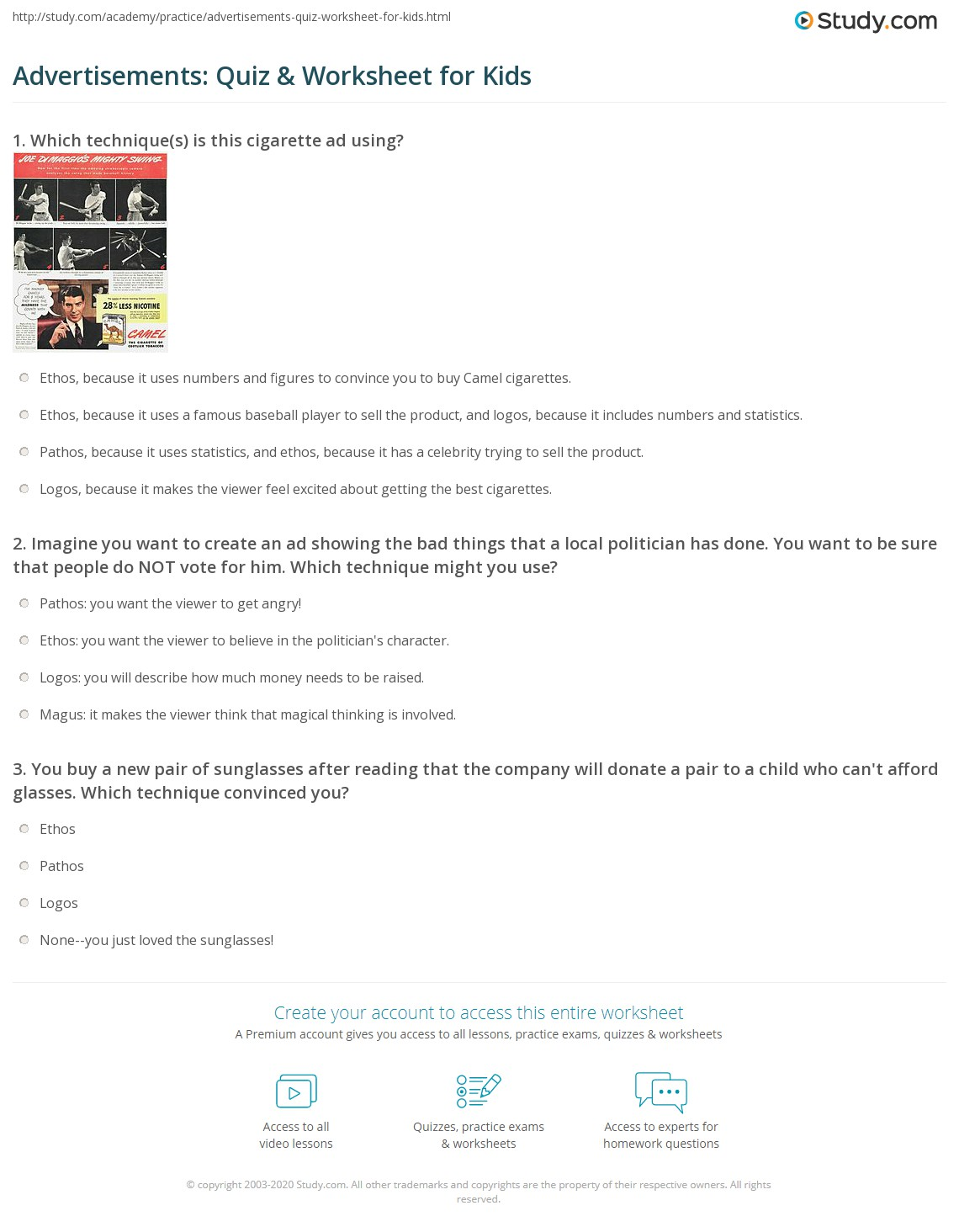 Advertisements Quiz Amp Worksheet For Kids