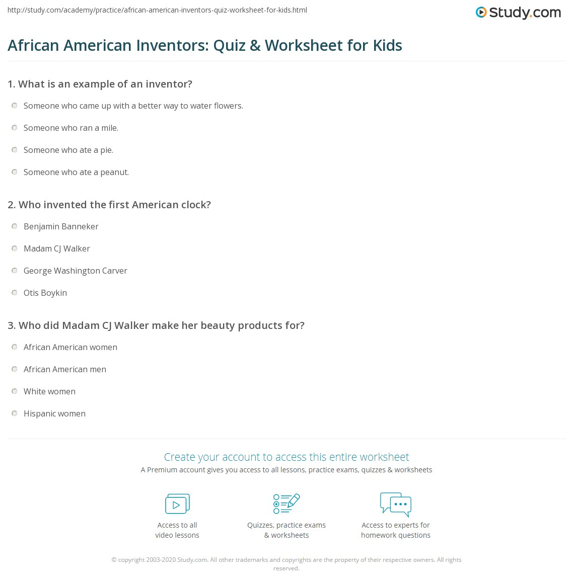 Inventions Worksheet Answers