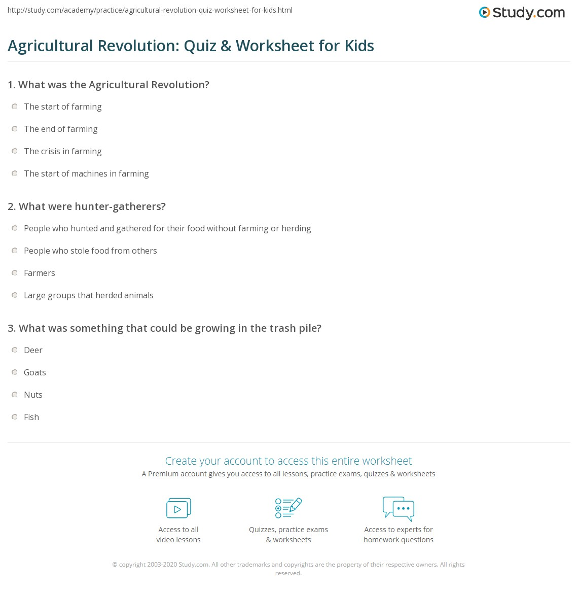 Agricultural Revolution Quiz Amp Worksheet For Kids