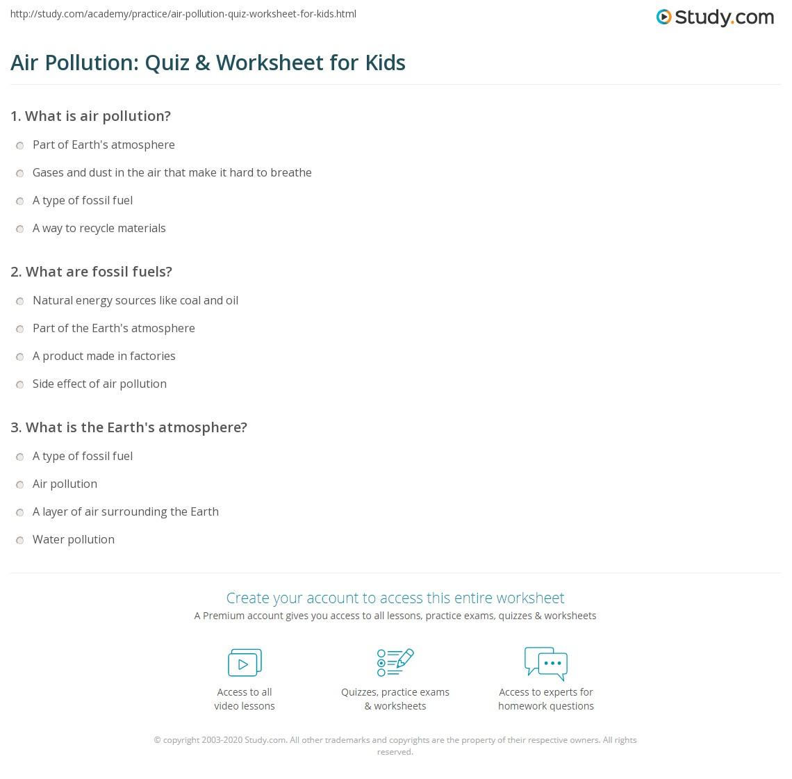 Air Pollution Quiz Amp Worksheet For Kids