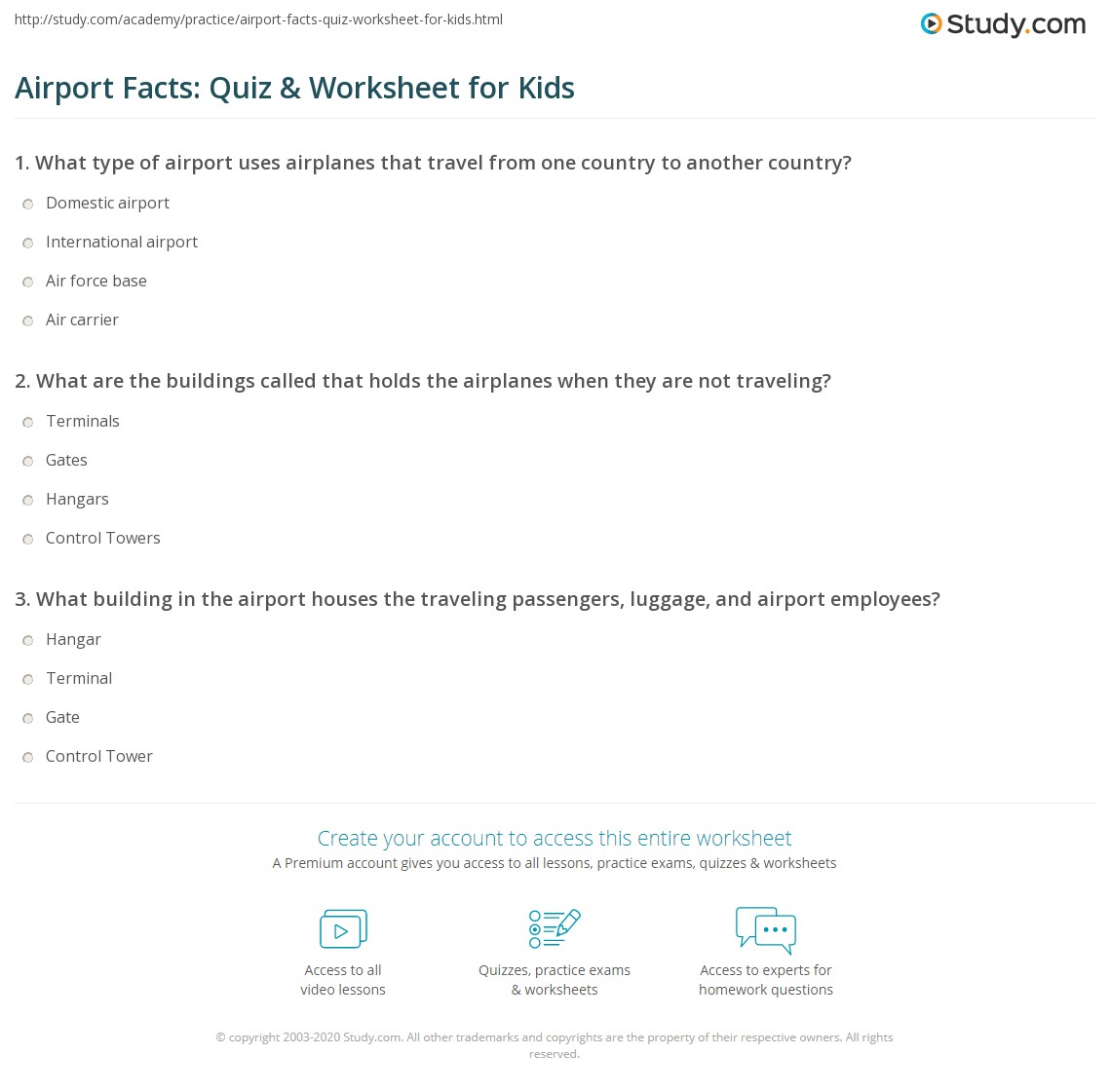 Airport Facts Quiz Amp Worksheet For Kids