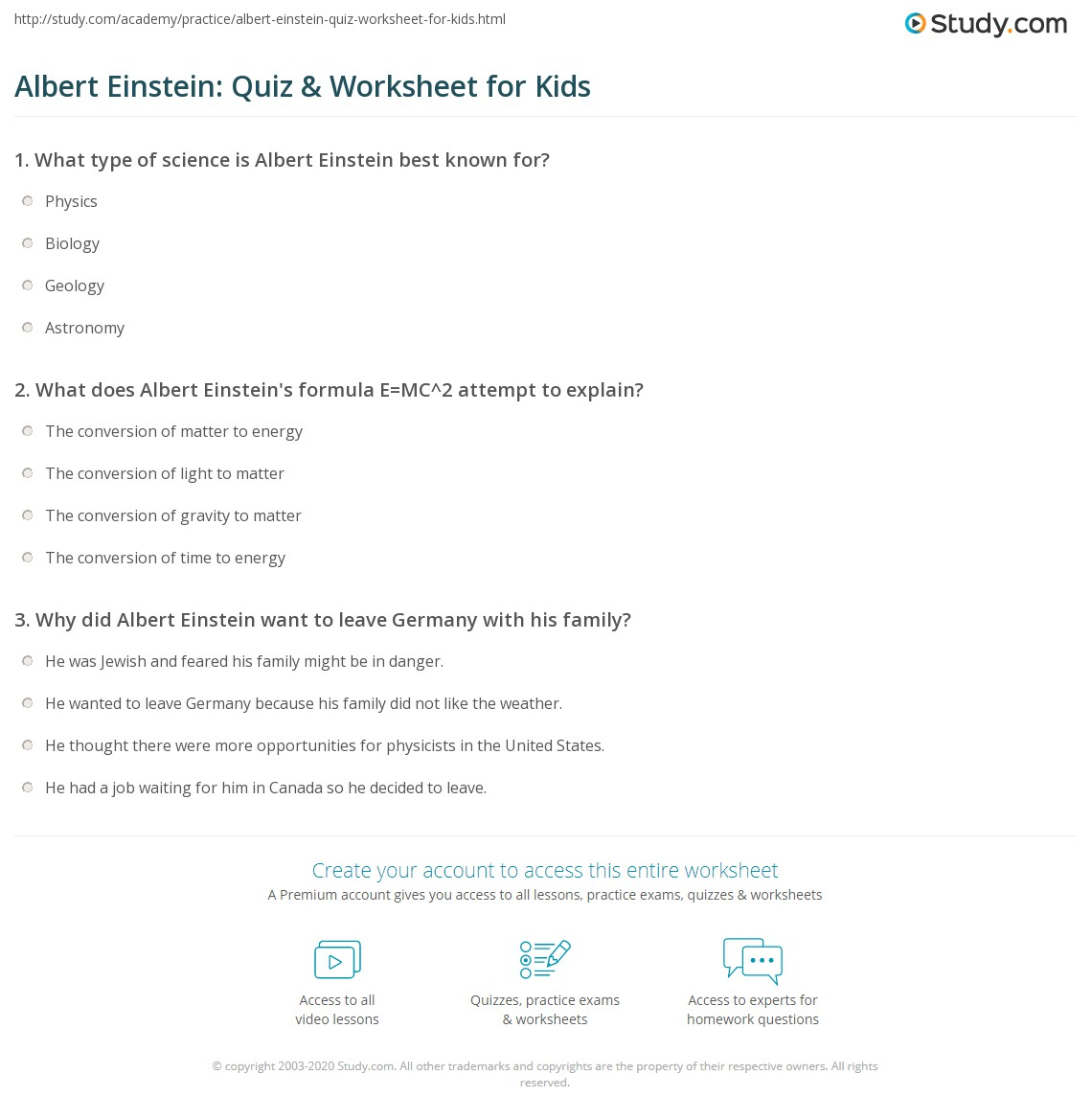 Albert Einstein Quiz Amp Worksheet For Kids