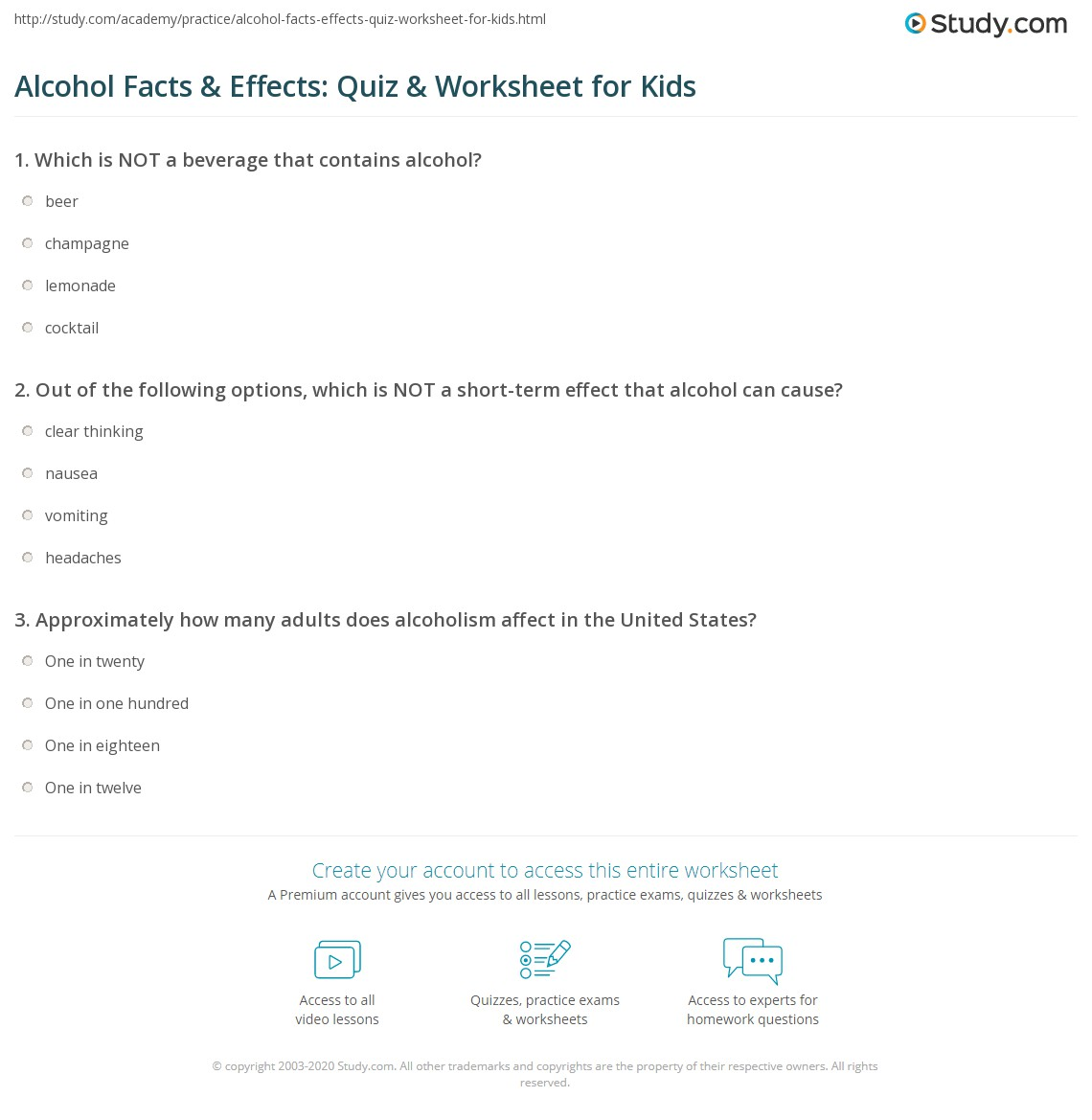Alcohol Facts Amp Effects Quiz Amp Worksheet For Kids