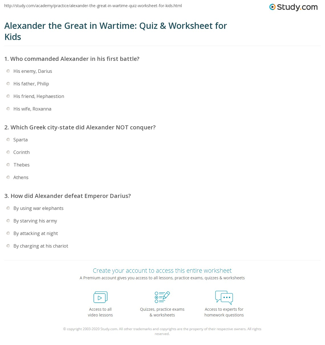 Alexander The Great In Wartime Quiz Amp Worksheet For Kids