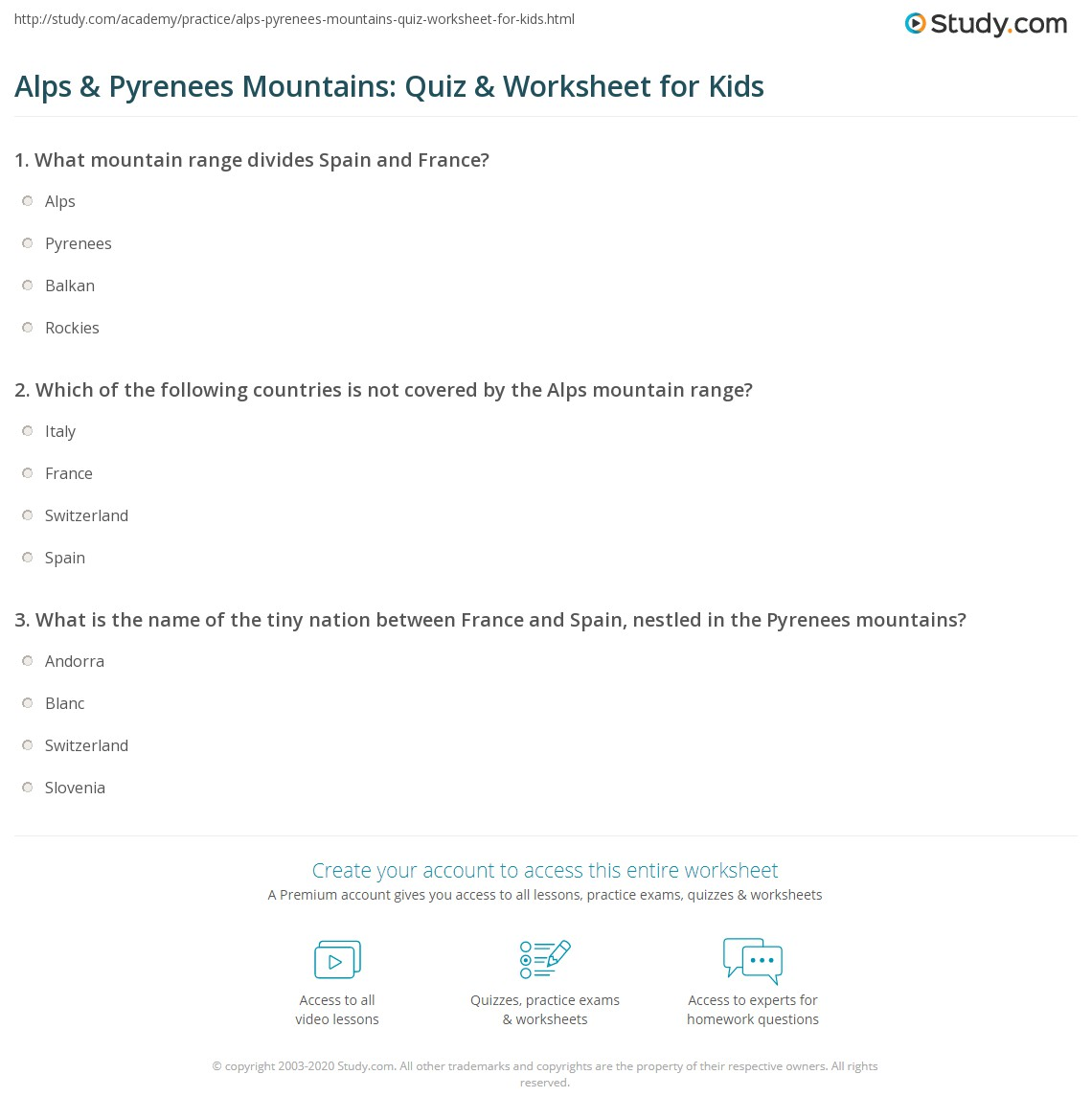 Alps Amp Pyrenees Mountains Quiz Amp Worksheet For Kids