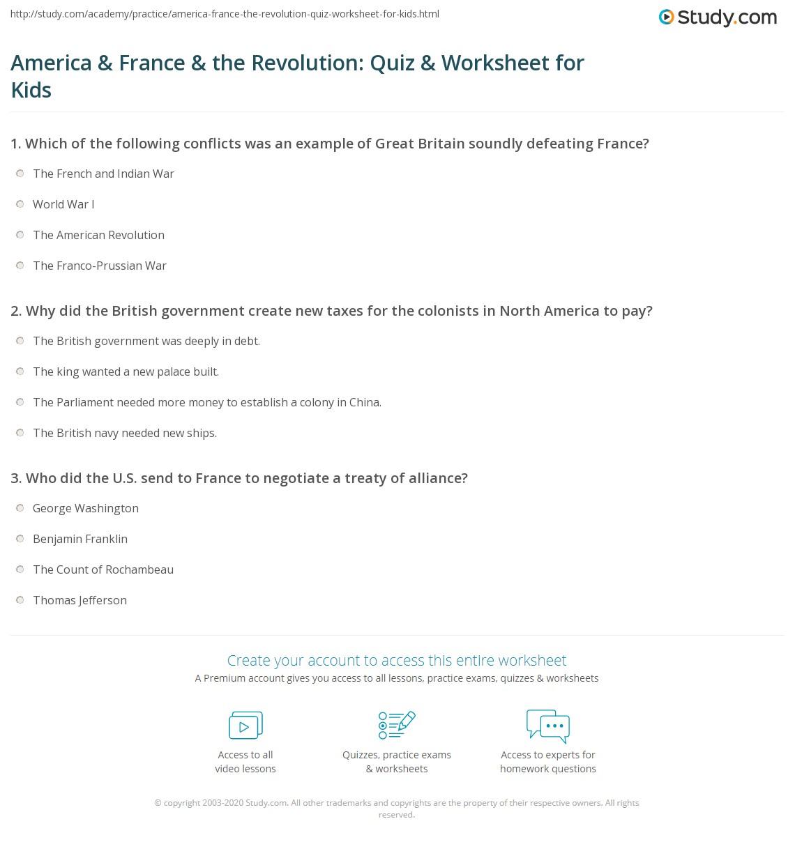 America Amp France Amp The Revolution Quiz Amp Worksheet For