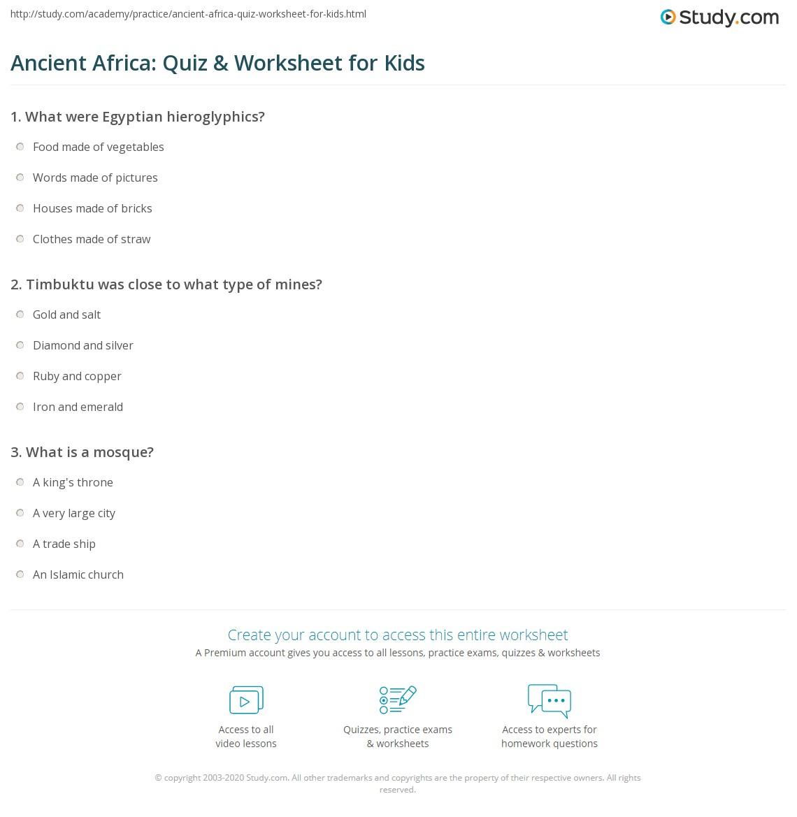 Ancient Africa Quiz Amp Worksheet For Kids