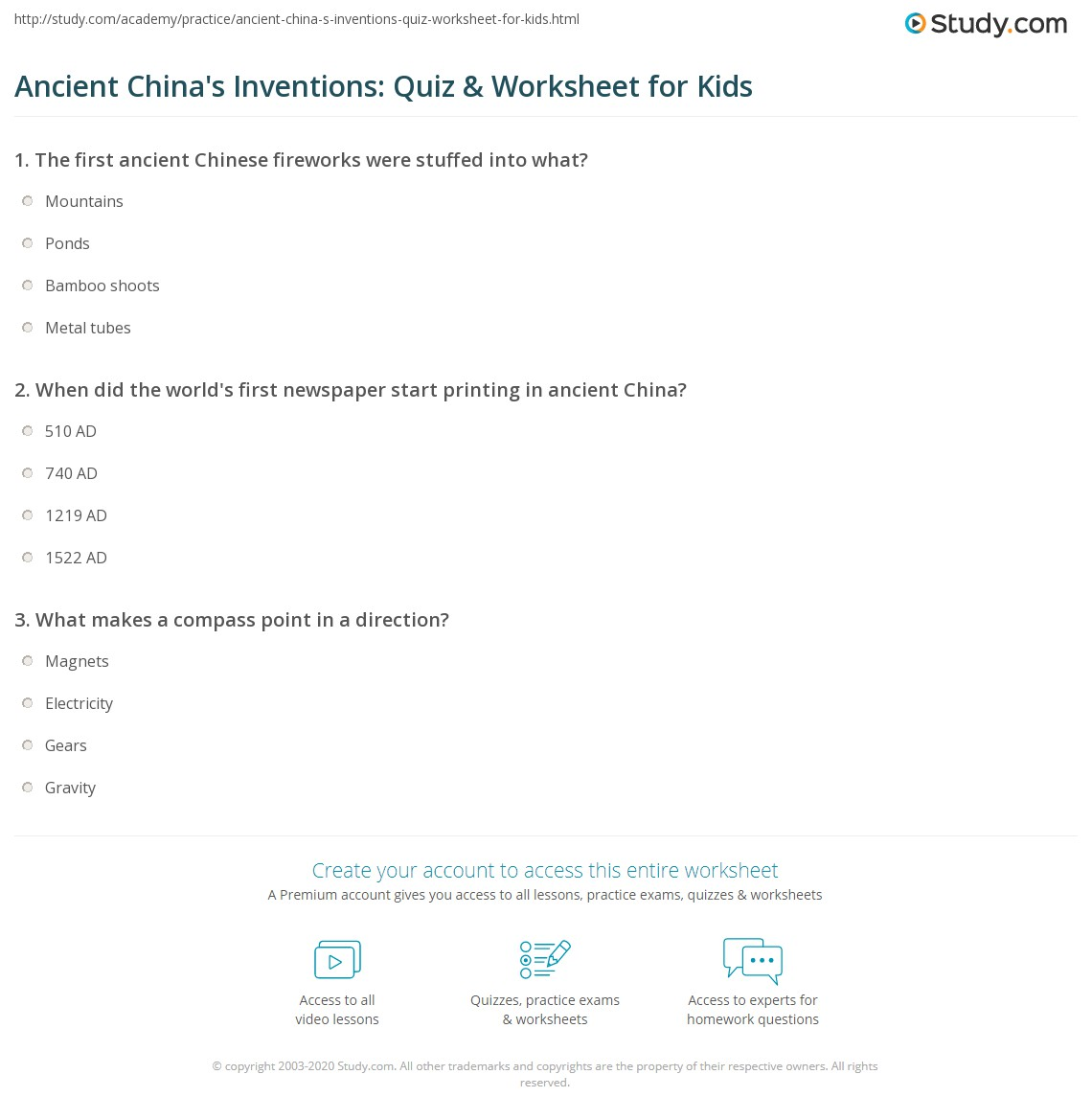 Ancient China S Inventions Quiz Amp Worksheet For Kids