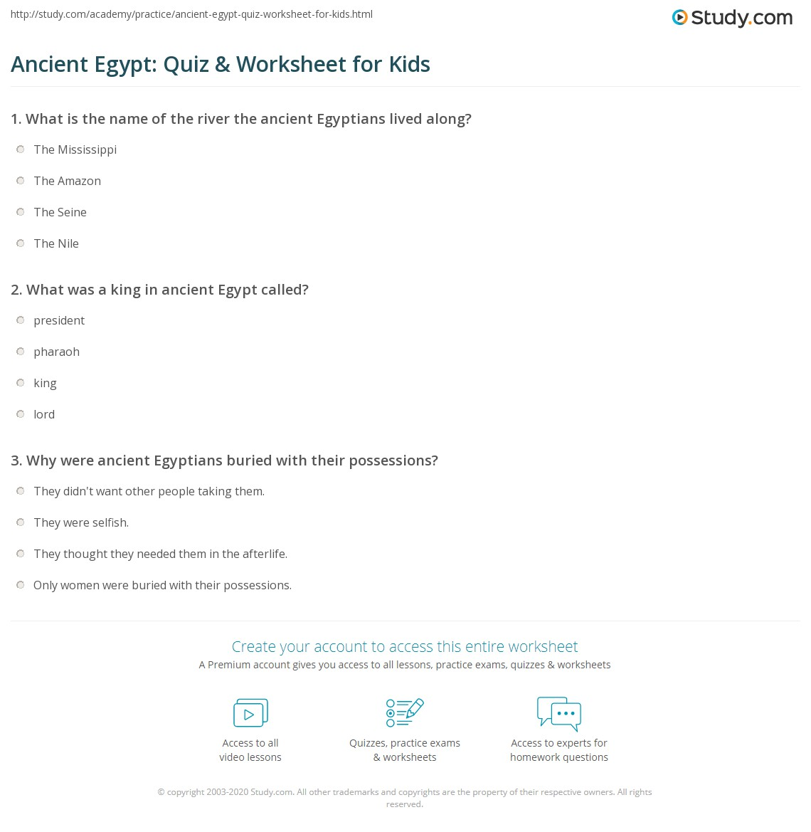 Ancient Egypt Quiz Amp Worksheet For Kids