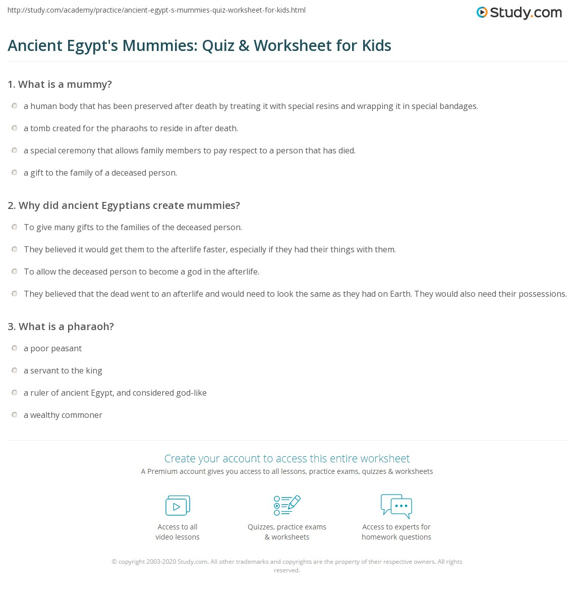 Ancient Egypt S Mummies Quiz Amp Worksheet For Kids