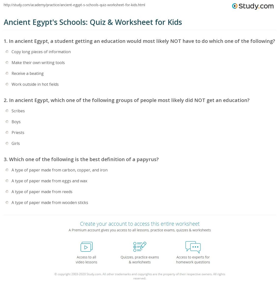 Ancient Egypt S Schools Quiz Amp Worksheet For Kids