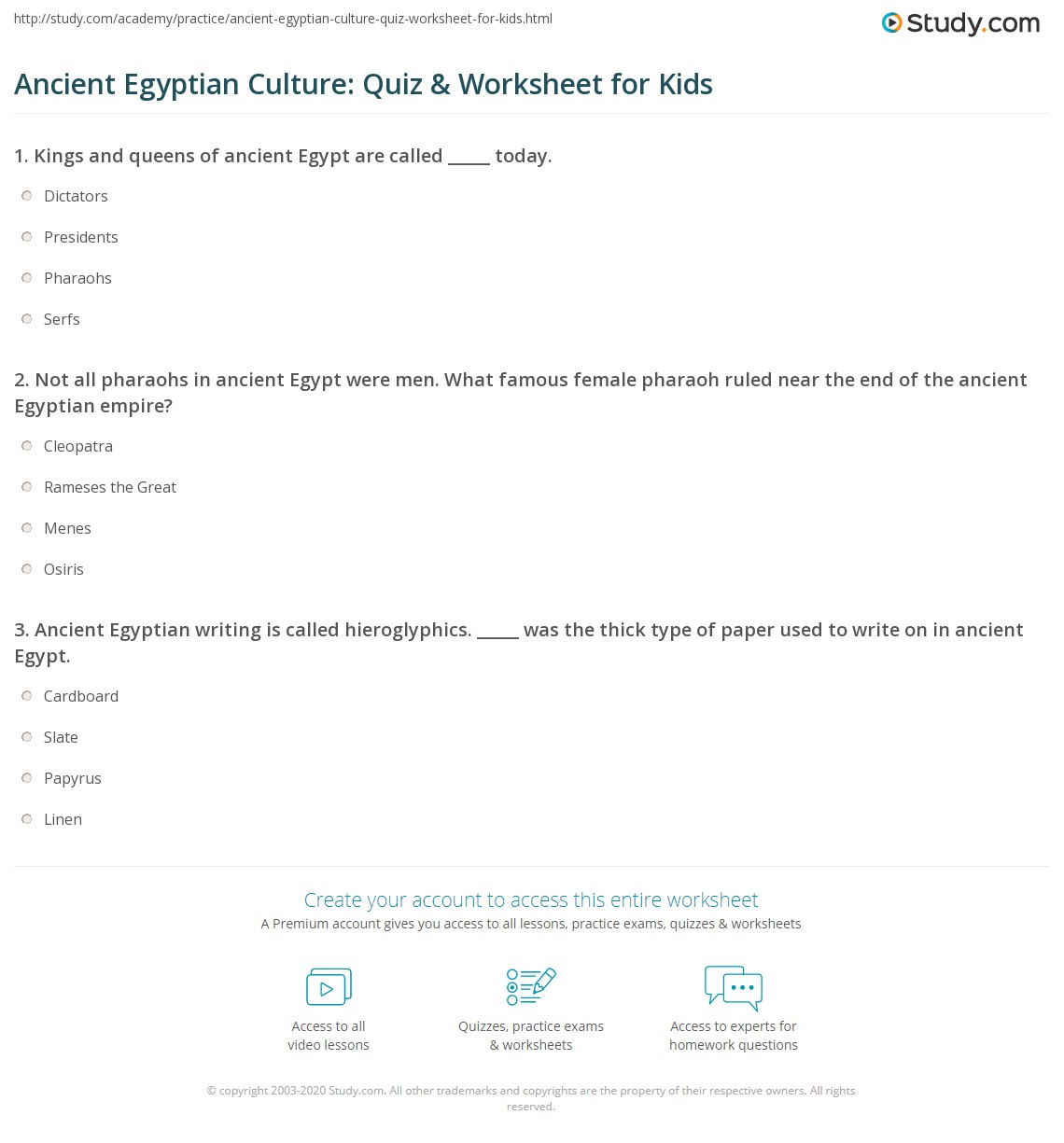Ancient Egyptian Culture Quiz Amp Worksheet For Kids