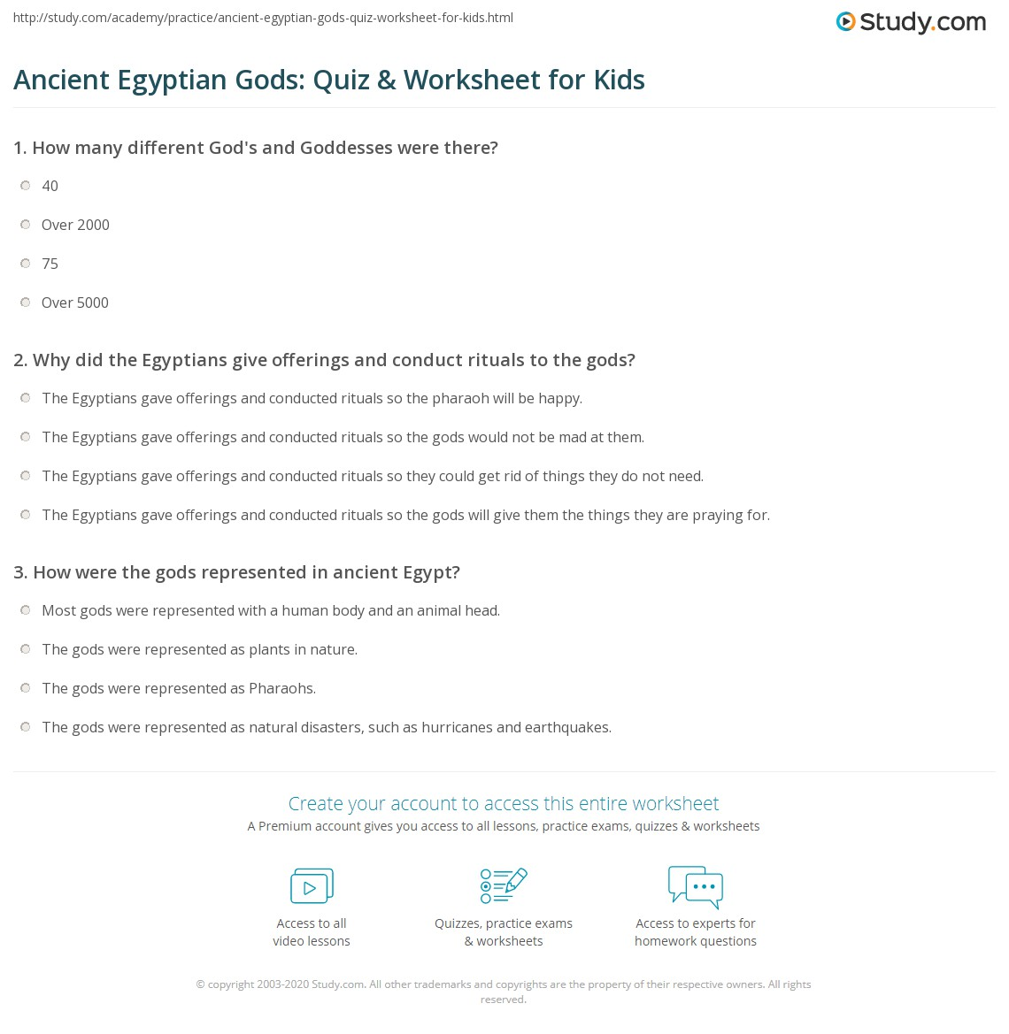 Ancient Egyptian Gods Quiz Amp Worksheet For Kids