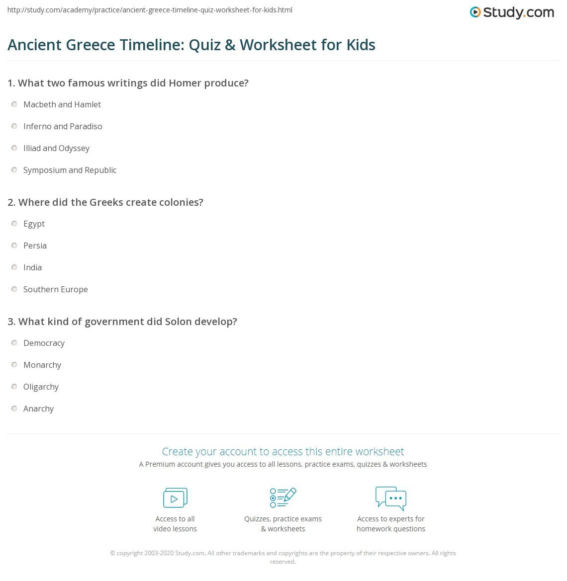 Ancient Greece Timeline Quiz Amp Worksheet For Kids