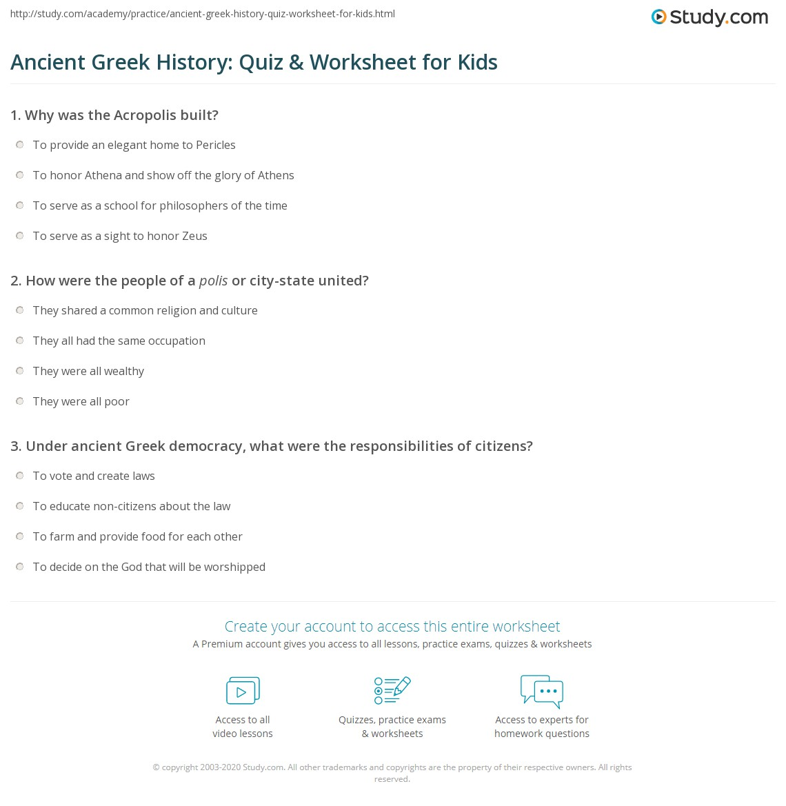 Ancient Greek History Quiz Amp Worksheet For Kids