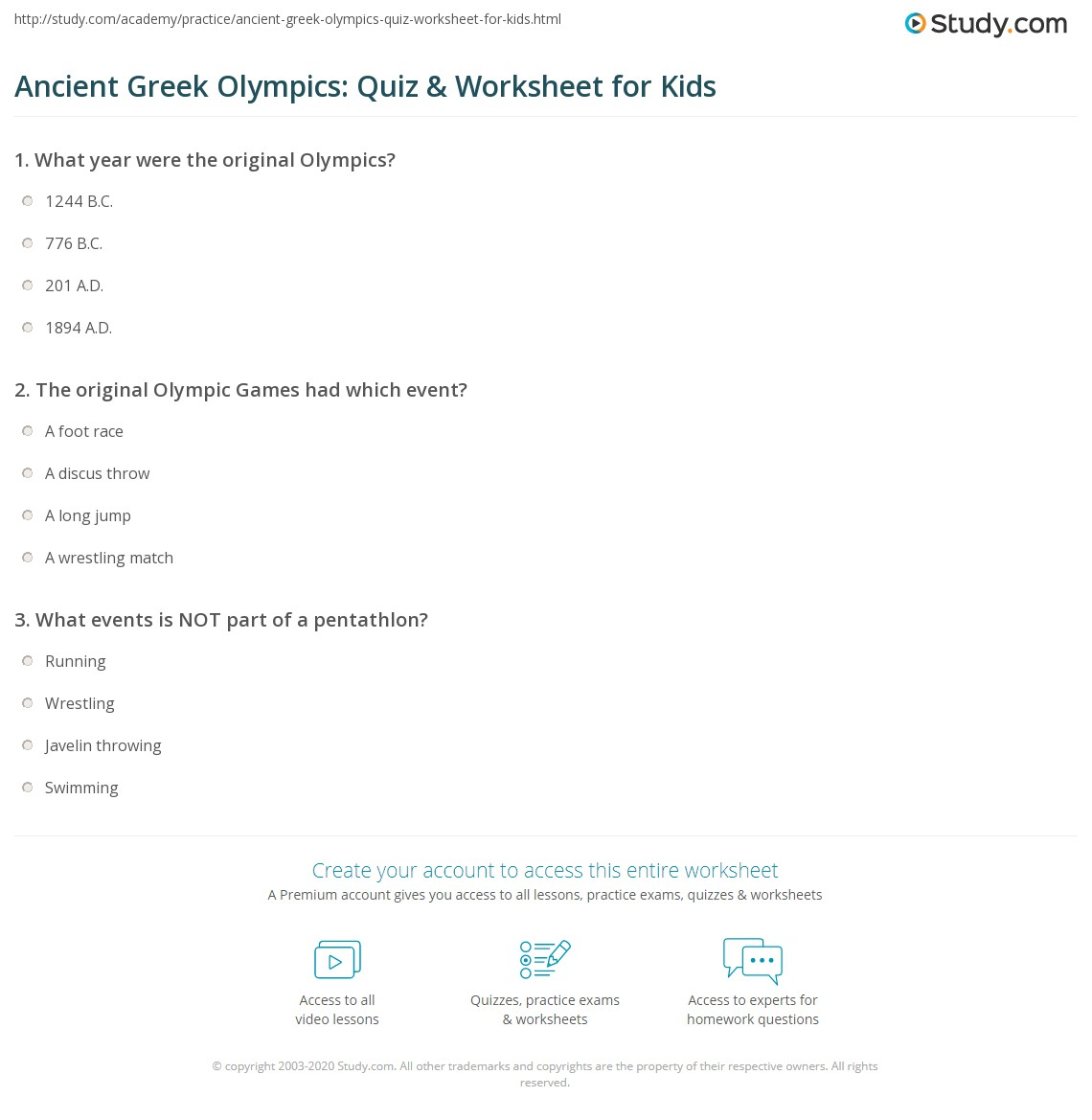 Ancient Greek Olympics Quiz Amp Worksheet For Kids