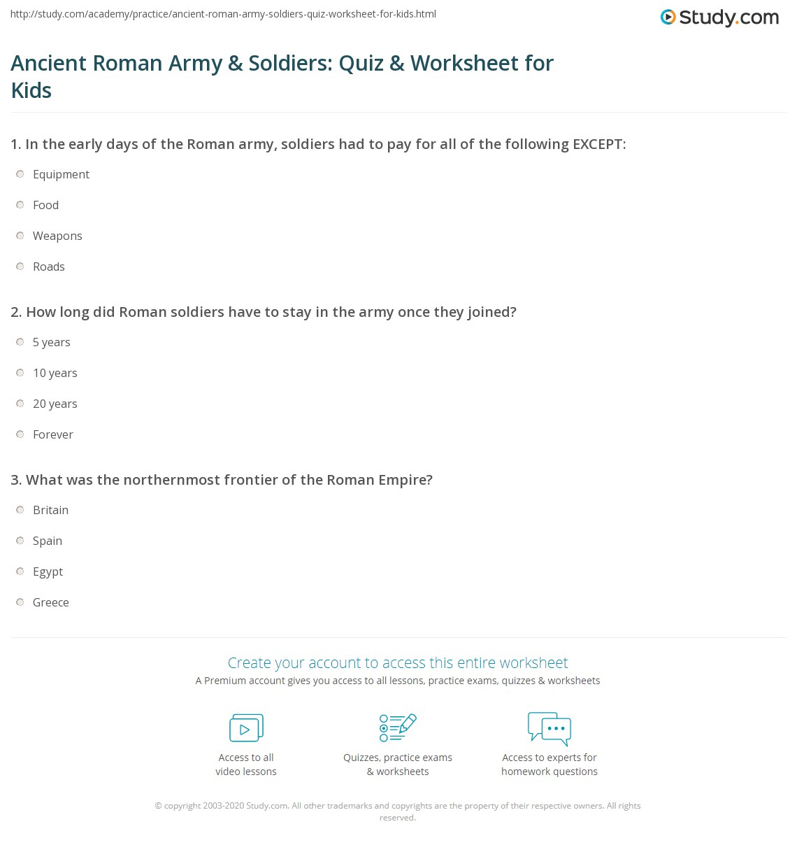 Ancient Roman Army Amp Sol Rs Quiz Amp Worksheet For Kids