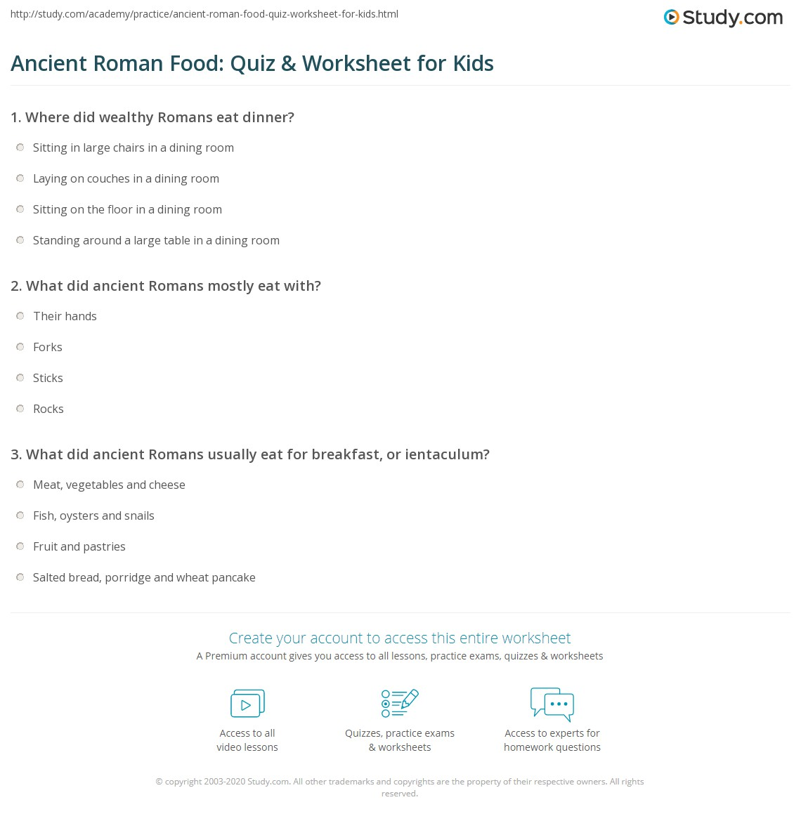 Ancient Roman Food Quiz Amp Worksheet For Kids
