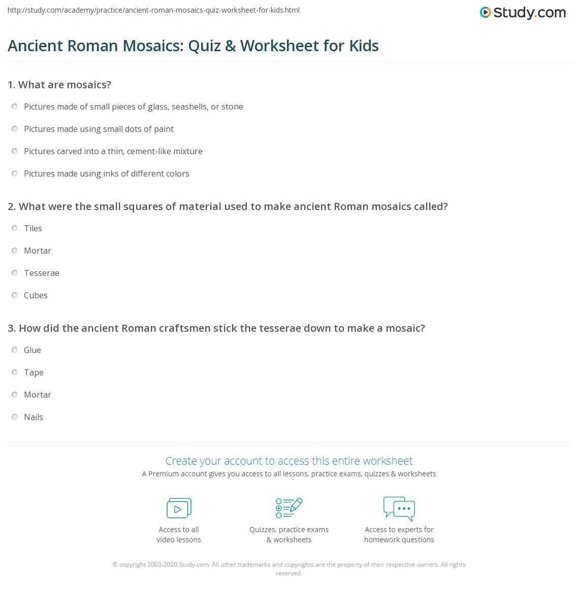 Ancient Roman Mosaics Quiz Amp Worksheet For Kids