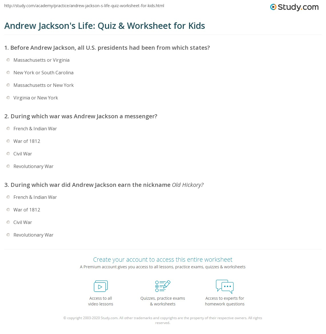 Andrew Jackson S Life Quiz Amp Worksheet For Kids