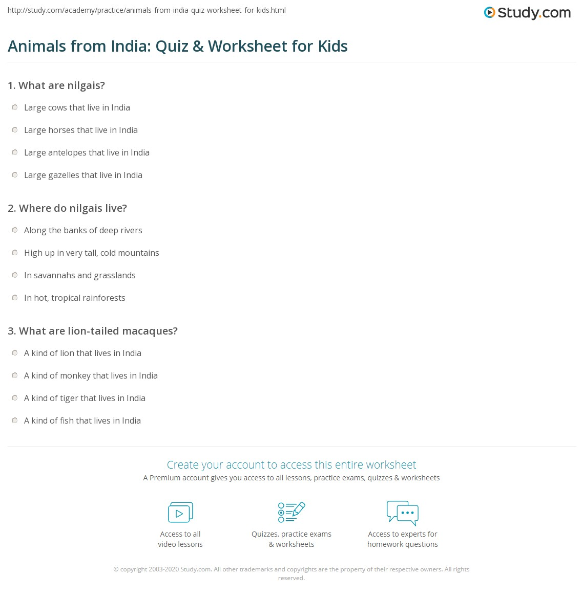 Animals From India Quiz Amp Worksheet For Kids