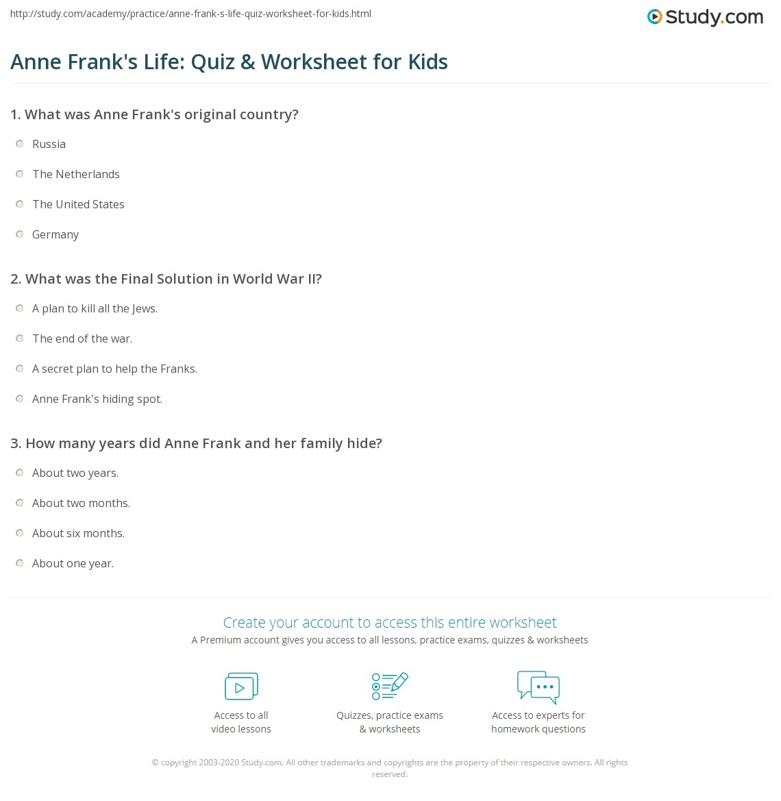 Anne Frank S Life Quiz Amp Worksheet For Kids